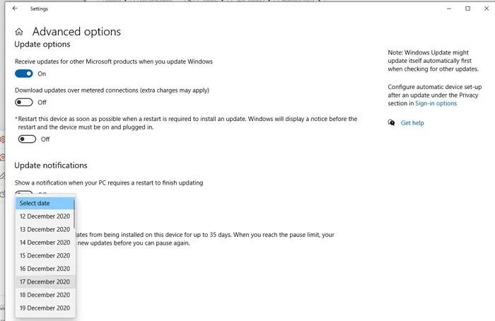 توقف عن تعطيل تحديثات Windows 10 حدد التاريخ