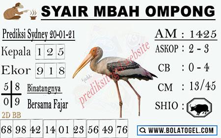 Syair Mbah Ompong Sydney Rabu 20-Jan-2021