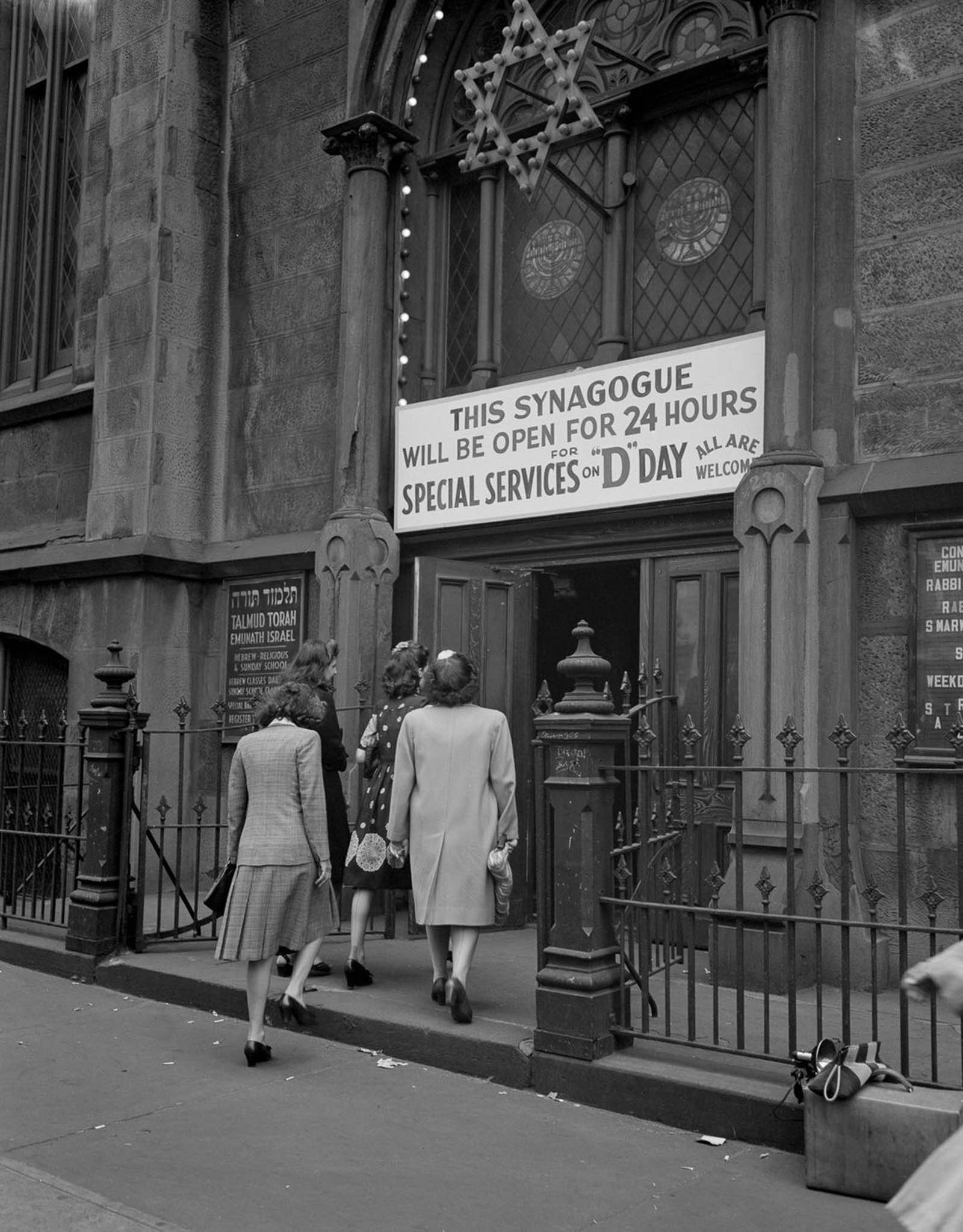 Worshippers enter a synagogue on 23rd Street for a special D-Day service.
