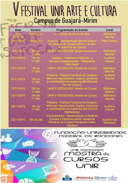 V Festival UNIR Arte e Cultura e Mostra de Cursos UNIR E SOCIEDADE acontecerão no campus de Guajará-Mirim, de 20 a 22 de novembro