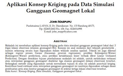 Aplikasi Konsep Kriging pada Data Simulasi Gangguan Geomagnet Lokal [PAPER]