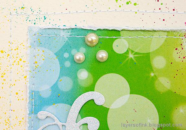 Layers of ink - Rainbow Blocks Scrapbooking Page by Anna-Karin Evaldsson. Stitch around the blocks.