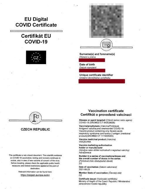 Certifikát EU COVID-19
