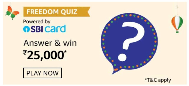 Amazon Freedom Quiz Answers Win 25000 Rupees