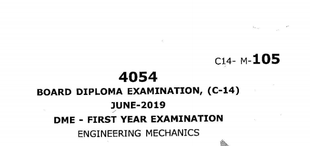 Sbtet engineering mechanics previous question papers c14 june 2019