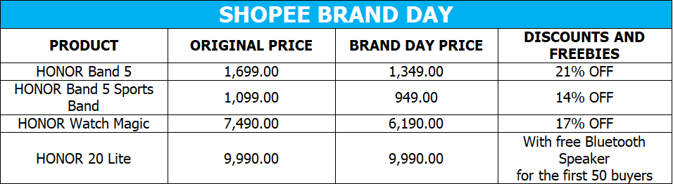 HONOR Shopee Brand Day deals