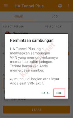 permintaan sambungan vpn ha tunnel plus