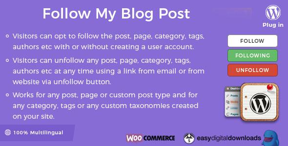 Follow My Blog Post WordPress Plugin v2.0.5