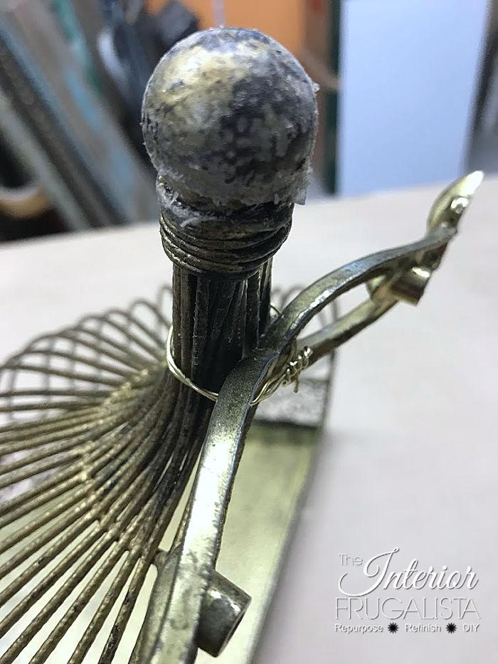 Christmas Junk Angel with vintage metal dresser pull wings