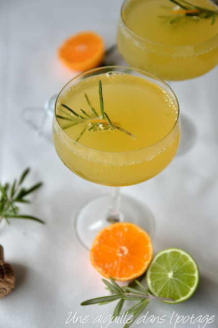 rosemary mandarin prosecco cocktail