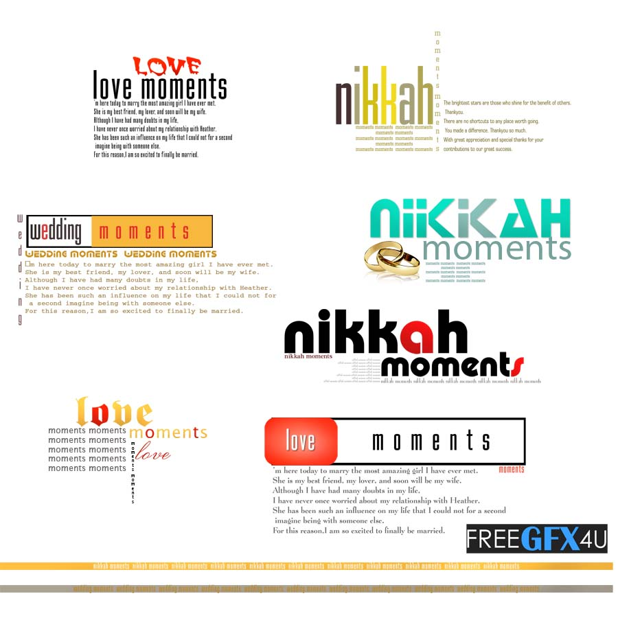 Love Moments Wedding, Nikah Text PSD Layers