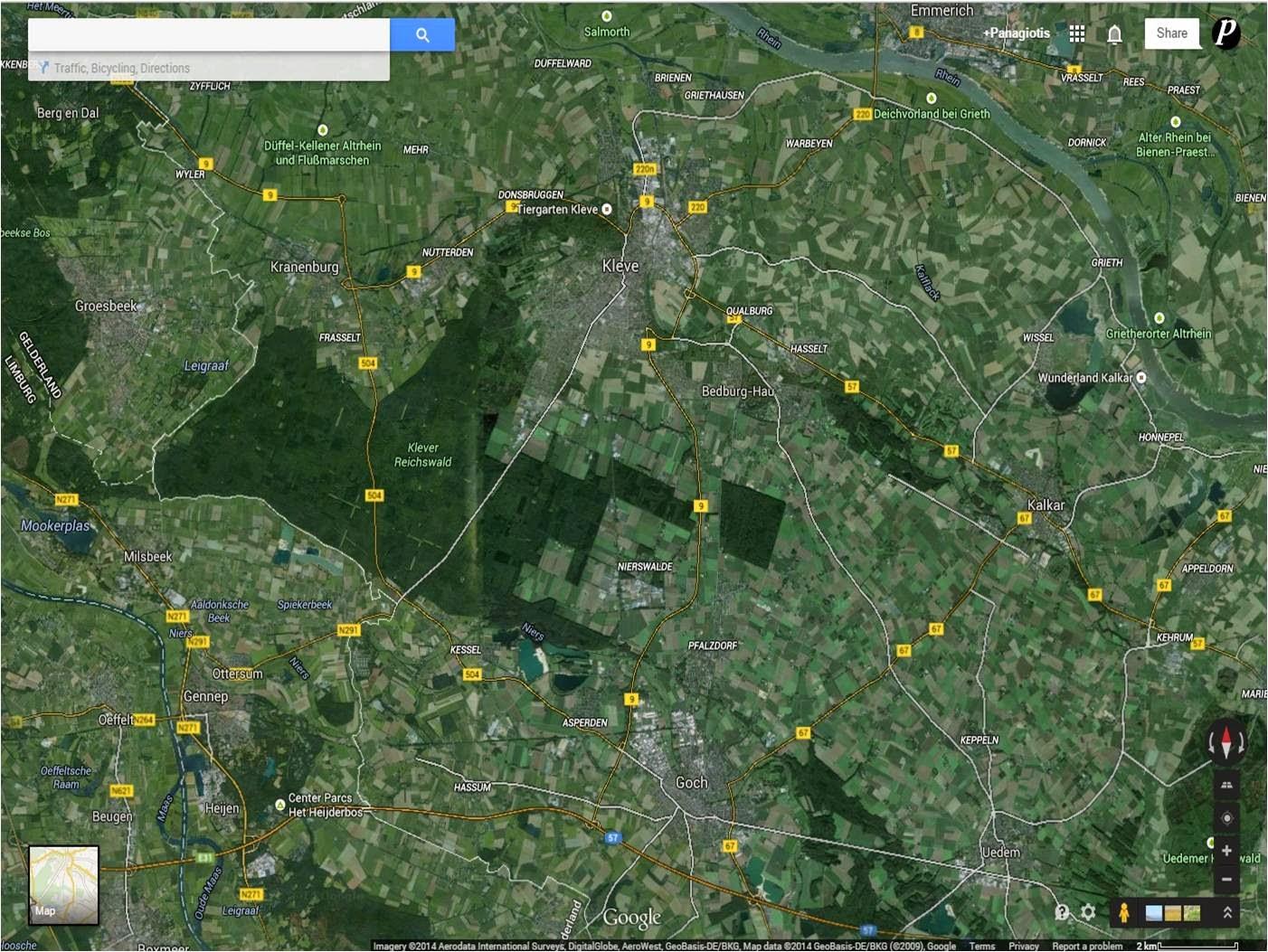 Goch is to the southeast of Nütterden