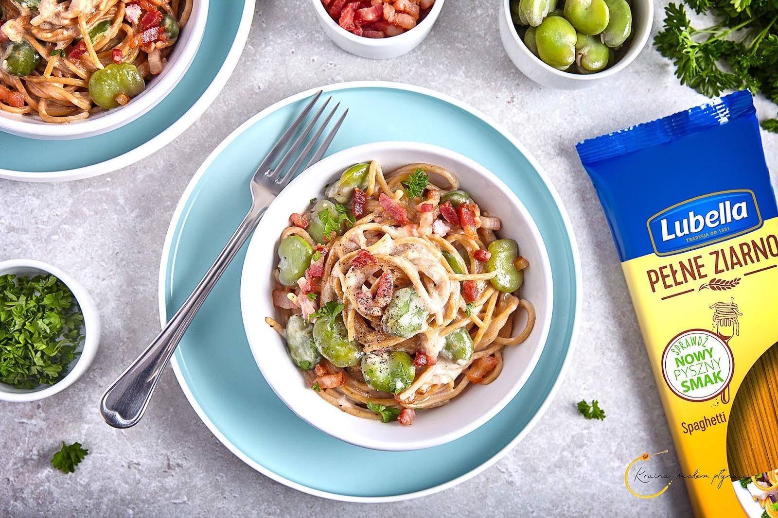 spaghetti z bobem, spaghetti z boczkiem, spaghetti w sosie mascarpone, makaron w sosie z mascarpone, kraina miodem płynąca,