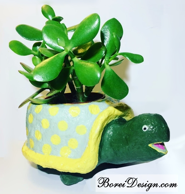 how-to-make-paper-mache-turtle-planter-plant-stand-craft-tutorial-diy