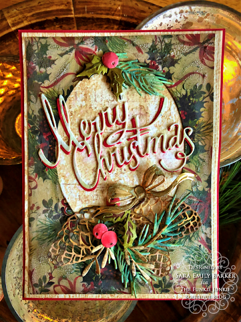 Sara Emily Barker https://sarascloset1.blogspot.com/2019/11/vintage-christmas-card-for-funkie.html Vintage Christmas Card Tim Holtz Worn Wallpaper Sizzix Thinlits Christmas Ribbon Festive Greens Funky Festive Florals Pine Branch 1