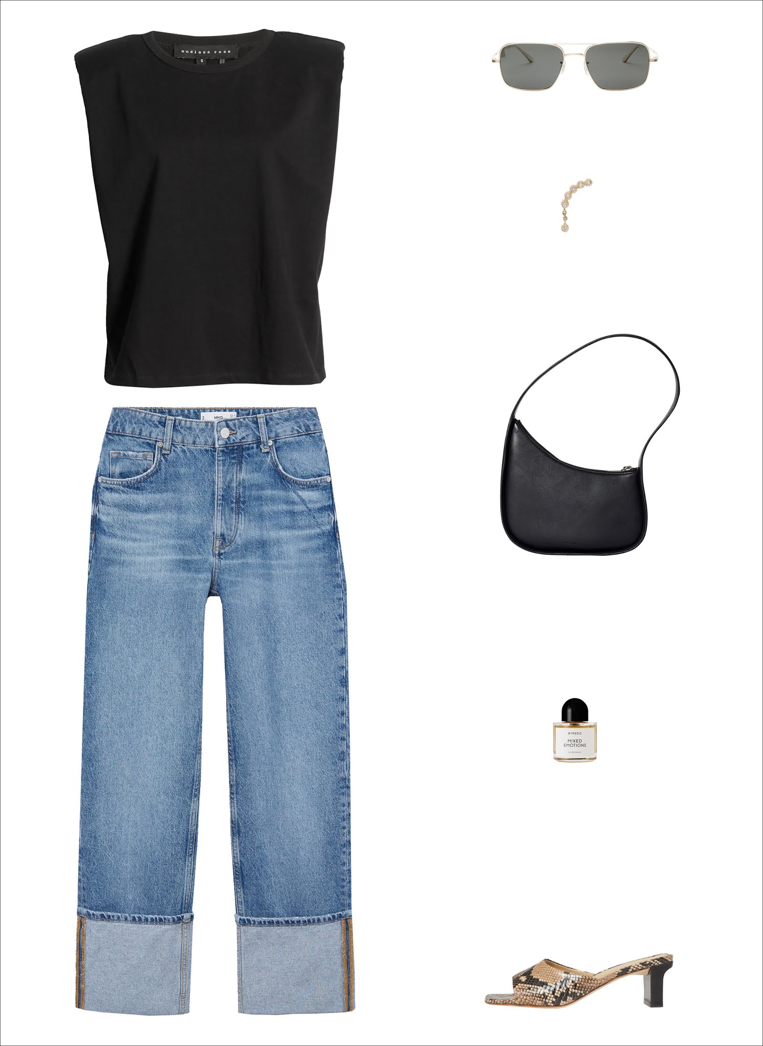 Here's How I'd Wear a Padded-Shoulder Tank Top in 2021 — Casual spring outfit idea with a black shoulder-pad muscle tank, aviator sunglasses, a mini statement earring, sleek black shoulder bag, cuffed straight-leg jeans, and snake-print heeled slip-on sandals