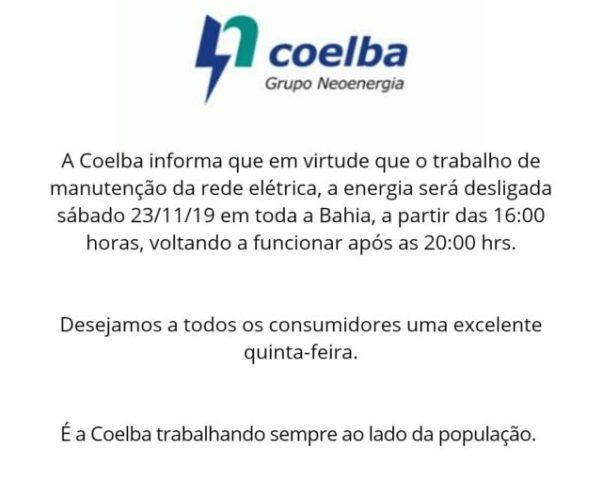 Interrupção de energia em toda Bahia pela Coelba é Fake News