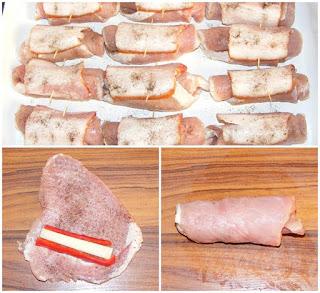 retete cu porc, preparate din porc, preparare rulouri din cotlet sau muschi de porc umplute cu cascaval si ardei, retete culinare, retete aperitive si gustari,
