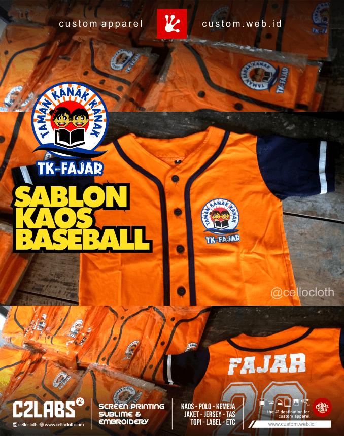 Kaos Baseball Anak Sablon Baseball TK Fajar - Baseball Custom Sablon and Printing