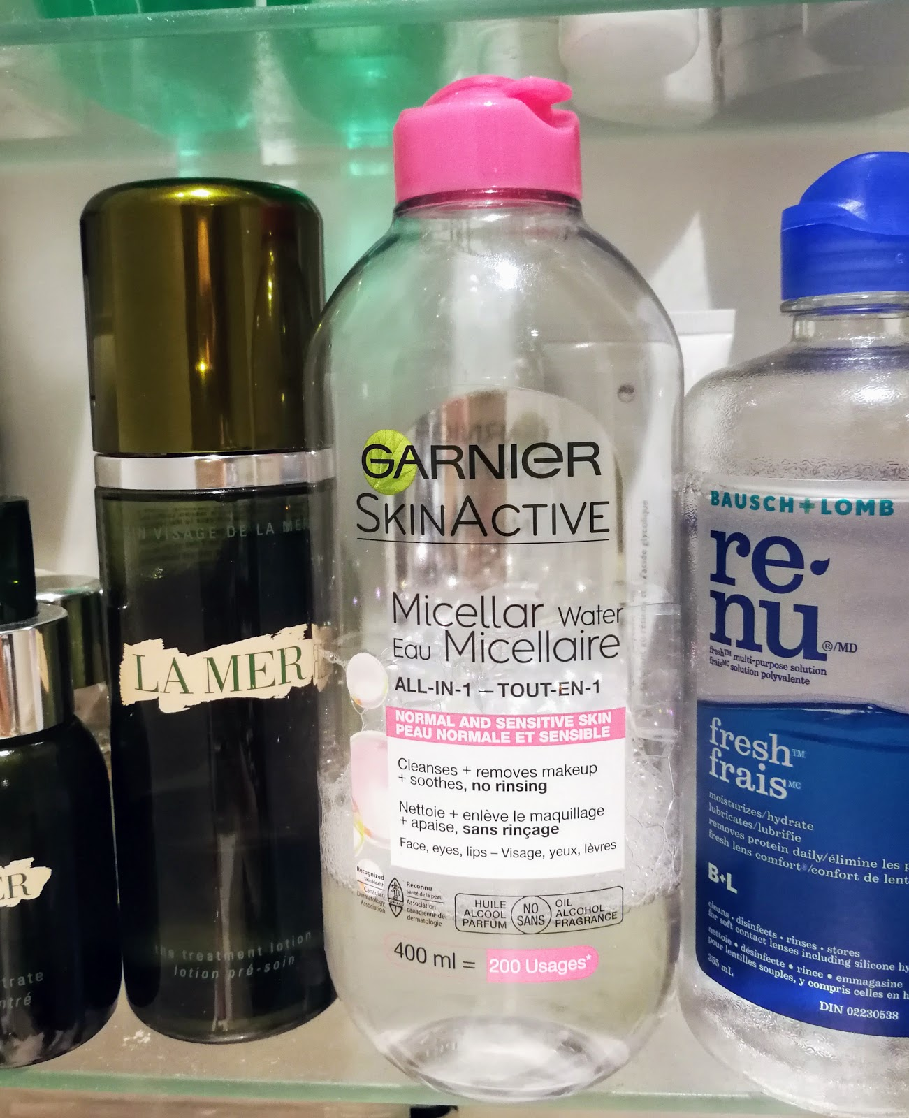Micellar water, Garnier, La Mer, Renew Contact Solution