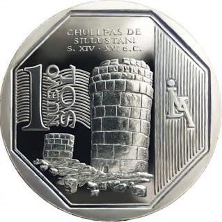 Moneda peruana con la imagen de las Chullpas de Sillustani
