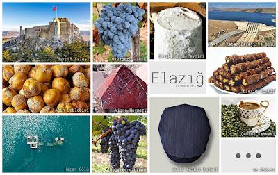 Elazığ'ın meşhur şeylerini gösteren resimlerden oluşan kolaj