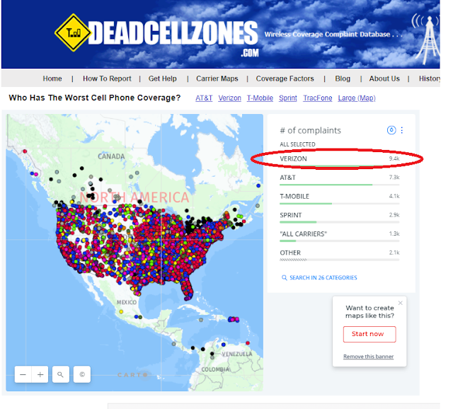 Verizon worst cell coverage map