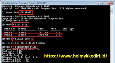 Memperbaiki flashdisk write protected dengan cmd