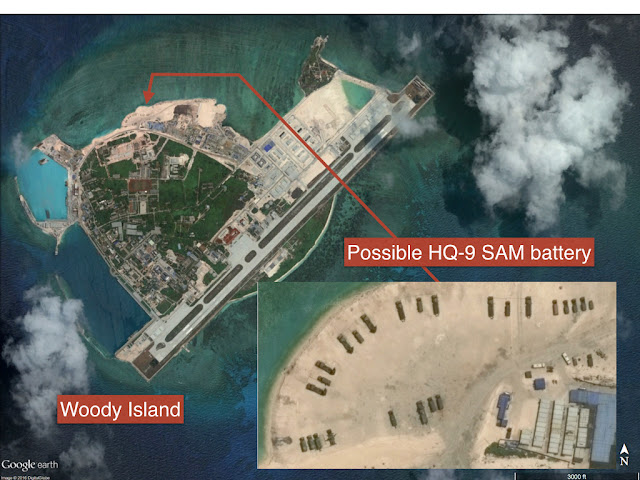 In early 2016, Satellite photographs had revealed that China had deployed two batteries of eight HQ-9 surface-to-air missile launchers as well as a radar system, on Woody Island.