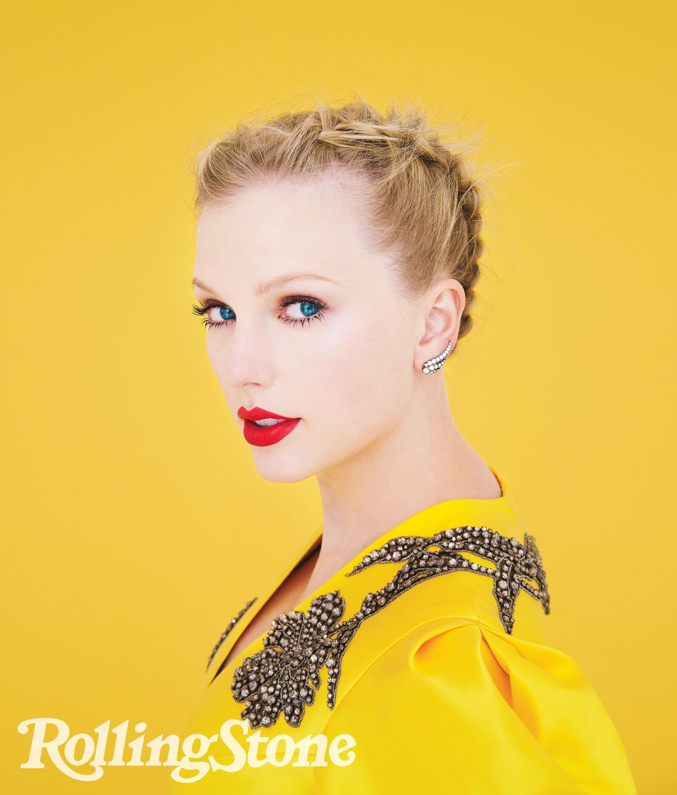 Taylor Swift photographed by Erik Madigan Heck for Rolling Stone. Dress by Erdem. Earrings by Jessica McCormack