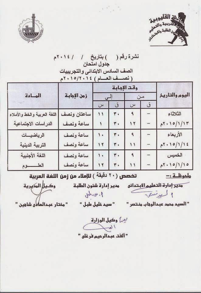 جداول امتحانات فرق ابتدائى الترم الأول 2015 لمحافظة القليوبية 1920594_655501801234