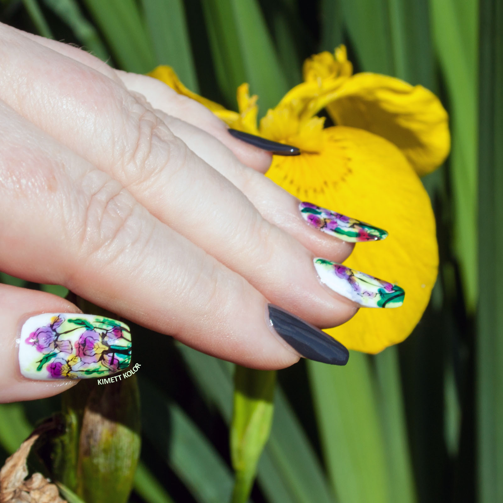 Kimett Kolor summer floral nail art with iris