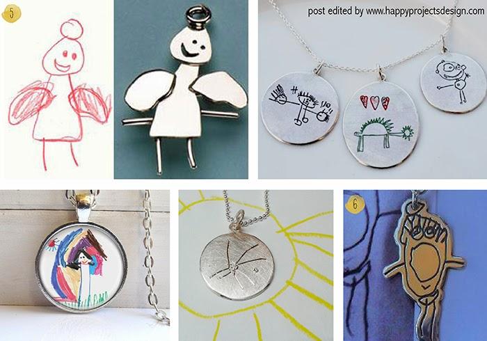ideas creativas de regalar dibujos de niños: joyas y llaveros personalizados