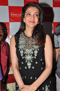 Kajal Aggarwal in lovely Black Sleeveless Anarlaki Dress in Hyderabad at Launch of Bahar Cafe at Madinaguda 034.JPG