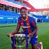 Asisat Oshoala Shows Off Liga Trophy