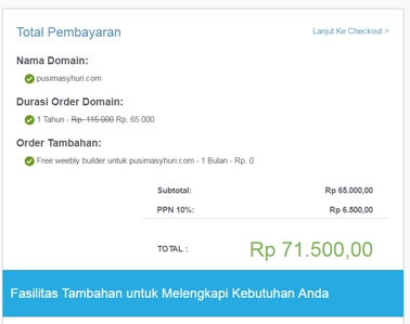Total Pembayaran Nama Domain .com