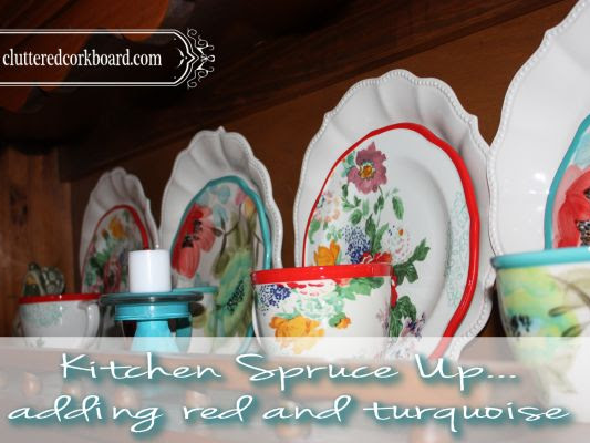 Kitchen spruce up, red and turquoise