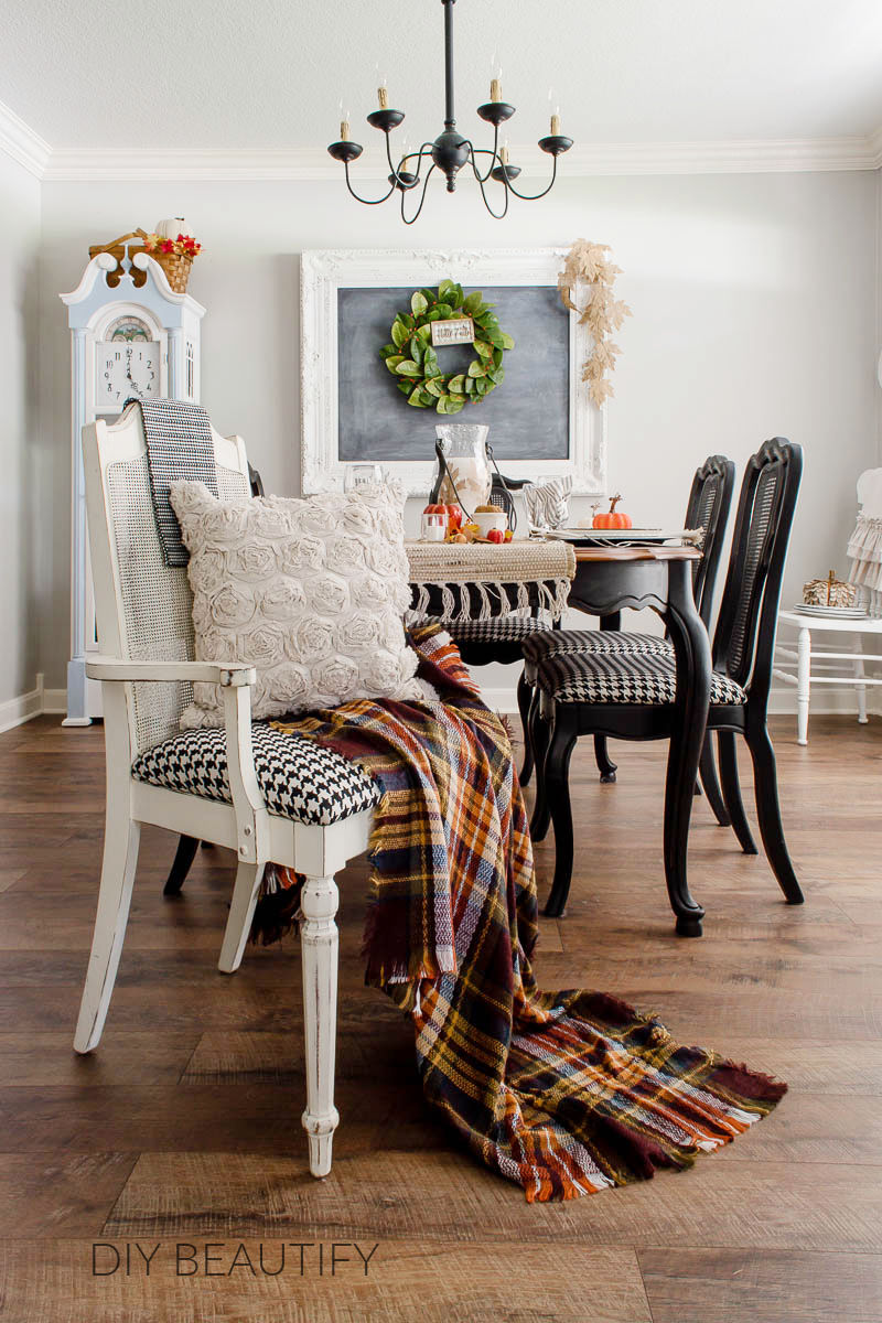 fall dining room with rich autumn color