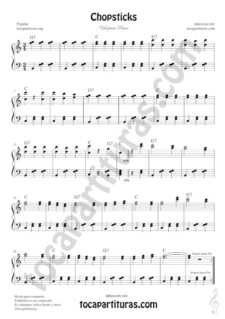 Chopsticks Partitura de Piano Fácil con Acordes Principiantes Easy Sheet Music for Piano Pianists Begginners