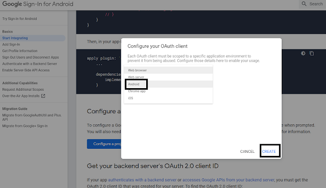 Select Android during configuring project for Google Sign-in
