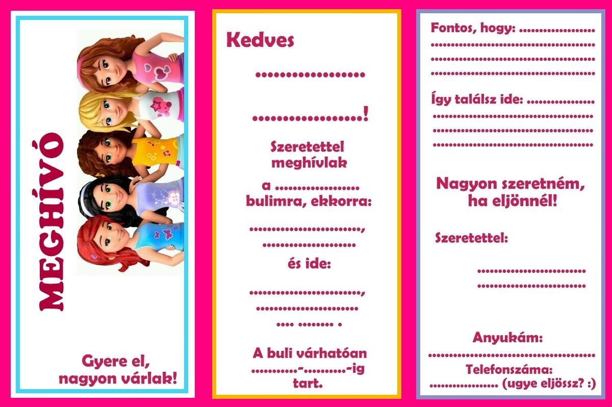meghívó születésnapi bulira Zsúrda: Lego Friends születésnapi buli meghívó meghívó születésnapi bulira