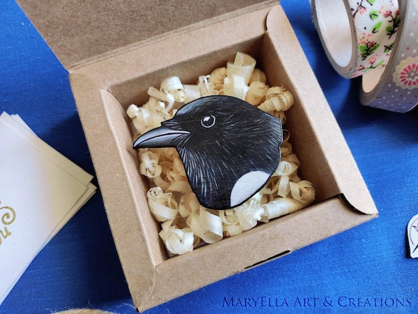 magpie%2Bwood%2Bbrooch