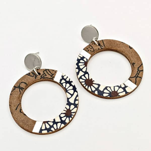 brown and blue chiyogami hoop earrings with circular silver-tone studs
