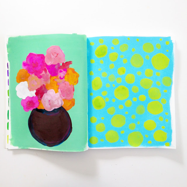 sketchbook, gouache, floral art, dots, Anne Butera, My Giant Strawberry