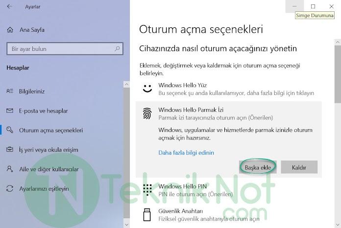 Windows 10 ikinci bir Parmak izi Kilidi ekleme
