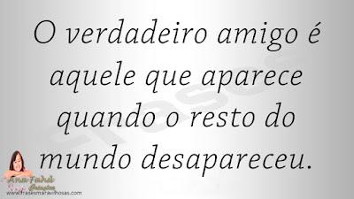 O verdadeiro amigo é aquele que aparece quando o resto do mundo desapareceu.