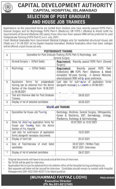 CDA jobs 2021   Capital Development Authority Hospital jobs 2021