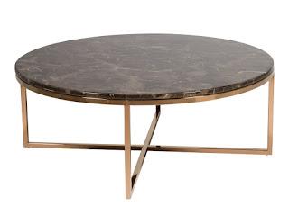 mesa baja de salon para sofa redonda acero marmol
