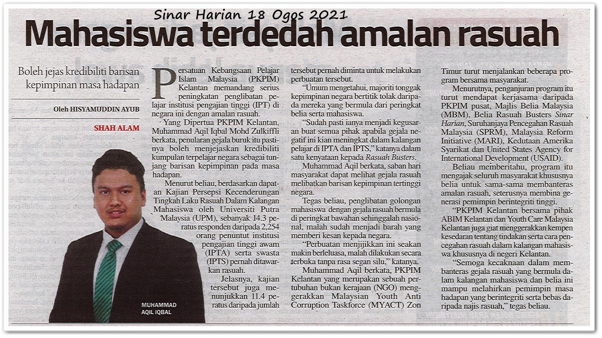 Mahasiswa terdedah amalan rasuah - Keratan akhbar Sinar Harian 18 Ogos 2021