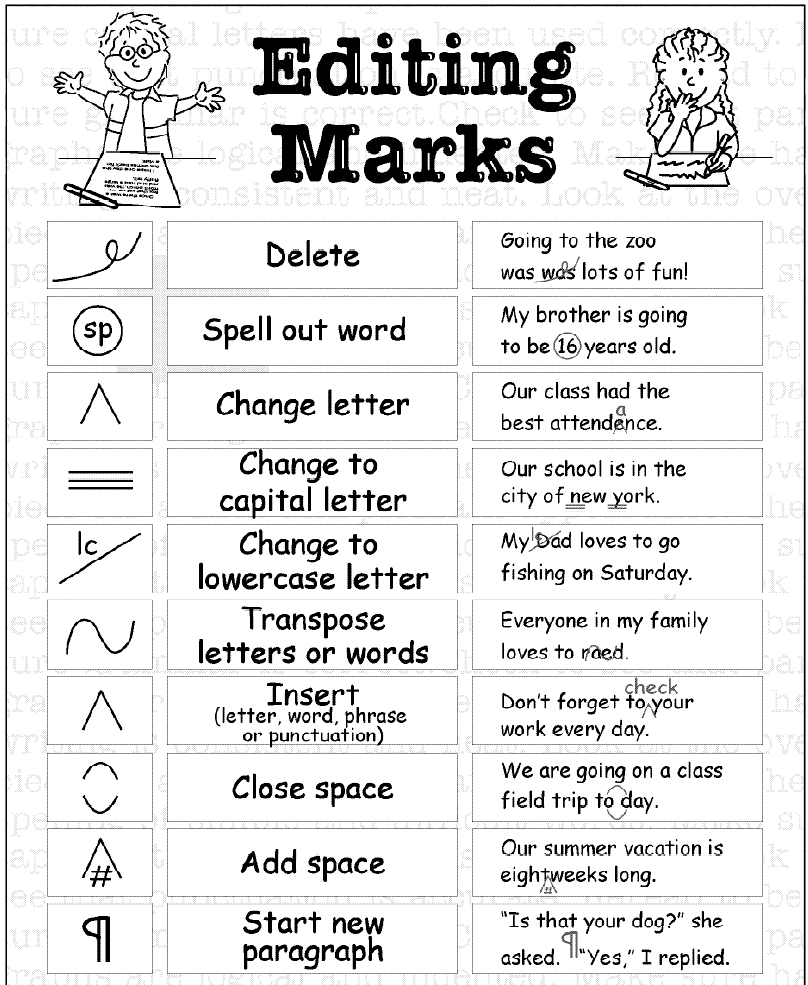 editing and proofreading symbols